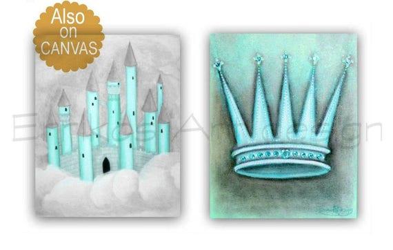 baby boy nursery castle wall art royal crown blue brown set 2 boys room decor prince nursery art boy nursery decor boys room art - Blue Castle Decor
