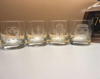 Star Wars Etched Whiskey Rocks Set of 4 glasses