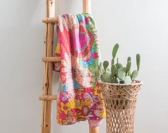 Vintage Pink Kantha Quilt