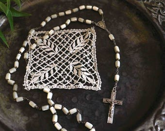 Old french rosary - mother of pearl rosary