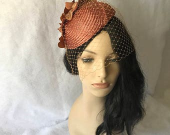 Brown fascinator hat with veil, brown flower fascinator hat, brown birdcage fascinator, brown wedding hat, mother of the bride hat