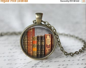 SUMMER SALE Library Book Necklace - Librarian Pendant - Gifts for Readers - Bibliophile Necklace - Reading Pendant - Literacy Jewelry (42)