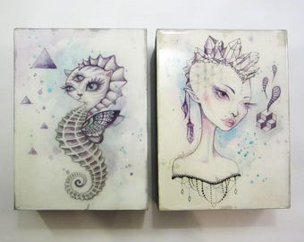 Mini Art Blocks, crystals, boho art, seahorse, original art, mini painting, watercolour painting, art by phresha, gift ideas, trippy art