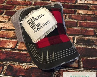 SHIPS TODAY It's a Fantastic Day to be Fabulous Plaid Patched Hat
