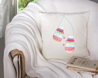 christmas throw pillow - watercolor christmas mittens - watercolor mittens - mittens watercolor - mittens throw pillow - mittens pillow