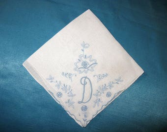 Embroidery Handkerchief Wedding Hankie Initial D, B, E, F or H Letter Monogrammed