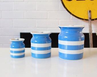TG Green and Co Cornish Kitchenware Storage Jars Set Of Three Blue and White