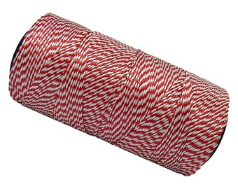 15 meters wire Polyester wax 0.8 mm - Macrame - red/white