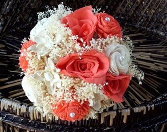 Coral and cream bridal bouquet | sola flower bouquet | rustic bouquet | rustic wedding | beach bouquet | beach wedding | keepsake bouquet