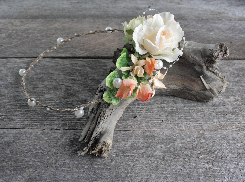 couronne fleurs corail pour cheveux couronne de fleurs filles. Black Bedroom Furniture Sets. Home Design Ideas
