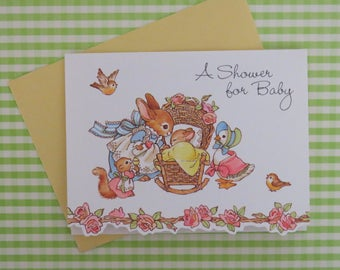 Vintage Hallmark BABY SHOWER Invitations - Adorable Mother and Baby BUNNY - New Old Stock - Boy or Girl - Set of 8