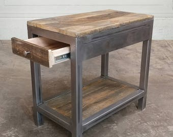 End Table With Storage, Wood and Metal, Reclaimed