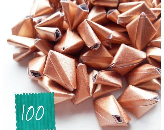 100 metallic rose gold paper origami heart love messages - wedding - Free worldwide shipping - wedding favour - rose gold wedding decoration