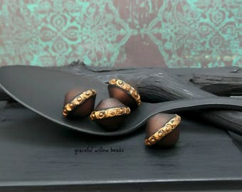 Vintage Style Polymer Bicone Bead - Brown Bronze Black Golden Bronze - Handmade Bohemian Bead - 13mm - Pkg. 4