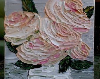 SALE Original  Heavy Impasto  Peach Cream Roses In A Vase  Acrylic Still Life Flowers Palette Knife  Painting.