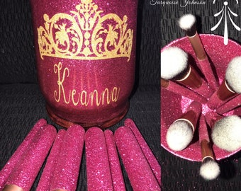 Custom Makeup Jar and Brush Set