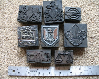 Vintage English Wood Block Stamps, Printing Stamps