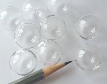5 Hollow Hand Blown Glass Beads 20mm