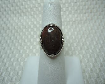 Oval Cabochon Rhodonite Ring in Sterling Silver  #2051