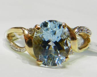 Aquamarine Ring Vintage Engagement ring 14K Gold Aquamarine Diamond Ring 2 Ct Aquamarine Engagement Ring 14K March Birthday Anniversary Gift