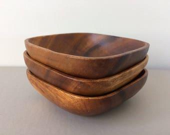 vintage wood bowls / Mid Century