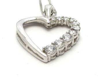 Sterling Silver Heart Pendant Necklace With Large CZ Stones - Weight 4.1 Grams - Valentines - Love - Heart Necklace # 4024