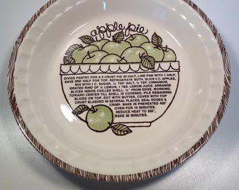 Vintage Apple Pie Baking Plate With Recipe on Inside Bottom Made In The USA