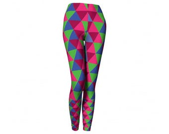 Printed Leggings - FREE SHIPPING to USA geometric triangle print pattern yoga leggings bright workout clothes for women mosaic spandex