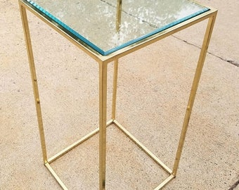 "ON SALE Brass Pedestal Art Stand With Beveled Glass Top ""Thin-Line"" Collection by Milo Baughman"