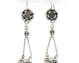 ON SALE Blossomed Rose And Heart Vines With CZ Dangle Earrings In Sterling Silver
