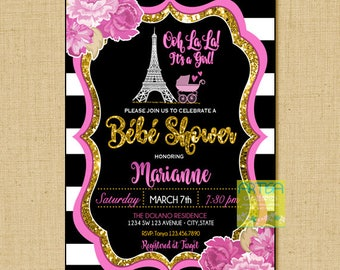 Paris Baby Shower Invitation, Ooh Lala Baby Shower Invitation, Paris Gold  Glitter Baby Shower