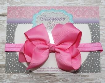 Baby Headband, Large Bow Headband, Infant Headband, Newborn Headband, Pink Bow Headband, Headband, Boutique Bow on Fold over elastic