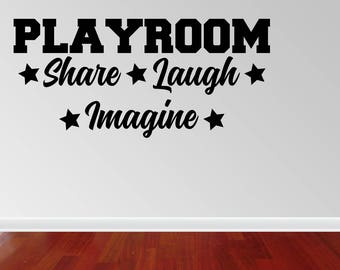 Wall Decal Quote Playroom Share Imagine Laugh Quote Family Playtime Kids Room Children Parenting Quote Vinyl Wall Sticker (JP387)