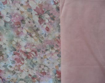 Print lawn coordinating fabric.  Flower print and solid apricot lawn,