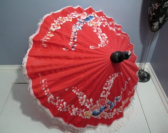 Vintage Chinese Parasol Umbrella Made Approximately 30 Years Ago