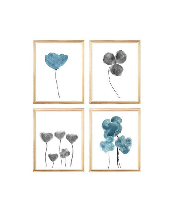 Teal Wall Decor, Set of 4-8x10 Watercolor Flower Prints