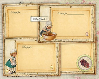 Recipe Cards - digital collage sheet - set of 4 cards - Printable Download