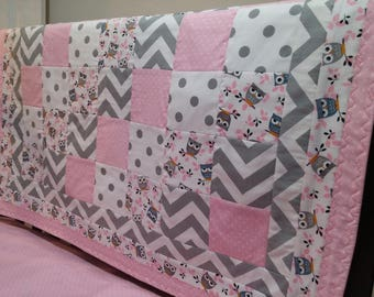 Pink and Gray Owl Crib Quilt