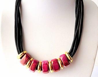 Dark red necklace, Collar necklace, Bib necklace, silk cord necklace, Ceramic necklace, black necklace, Beach necklace, textile jewelry