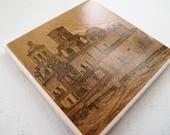 1890s Tucson Arizona Cathedral of San Xavier del Bac Handmade Repurposed Atlas Coaster - Ceramic Tile - Repurposed 1890s Atlas OOAK Coasters