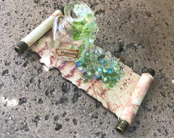 Green Poison Square Potion Spilled on a Spell Scroll - Dollhouse Miniature (sp7)