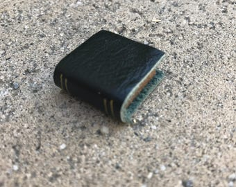 Dark Green Leather Book - Dollhouse Miniatures