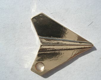 17mm Zinc Based Alloy 3D Origami Charm, Gold Plated Airplane Charm, C147