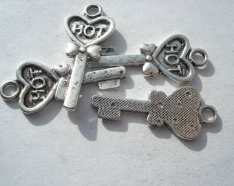 29mm Antique Silver Charms, Tibetan Style Skeleton Key with Word Hot Charms, Lead and Cadmium Free, Pack of 20 Charms, C374