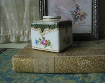 Gifts For Brides, Antique Dresden Painted Porcelain Ink Pot, Antique Dresden Ink Well, Antique Porcelain Ink Well