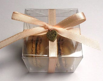 Macaron Favor Boxes, Wedding Favor Boxes, Clear Box, Macaron Favor Box, Macaroon Boxes - w/Ribbons & Thank You Charms - 2x2x2 - Set of 25