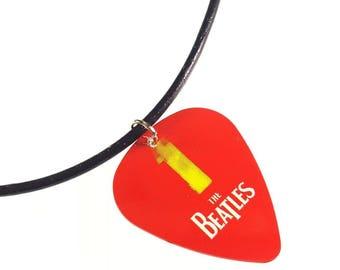 The Beatles 1 Album Cover Art Genuine Guitar Pick Necklace
