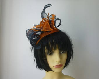 Blue and Orange Fascinator for summer weddings derby days and Ascot