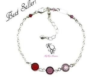 Birthstone Bracelet, Grandma Bracelet, Mothers Bracelet, Family Bracelet, Sterling Silver Bracelet, Birthstone Jewelry, Mothers Jewelry