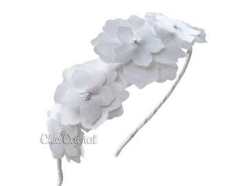 Flower Girls Hair Accessories, Headband, Flower Head Band, Wedding, Christening, Baptism, Photo Prop, Girls Hair Accessories, Fabric Flower